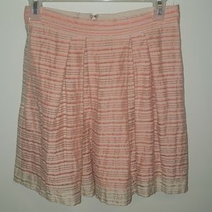 BCBG cream and coral stripped skirt